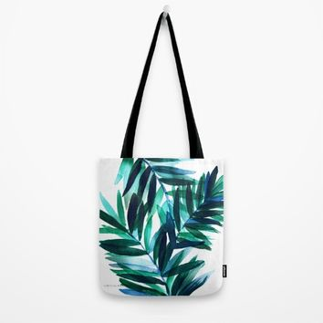 Palm Leaves - Teal Ombre Tote Bag by CRYSTAL WALEN