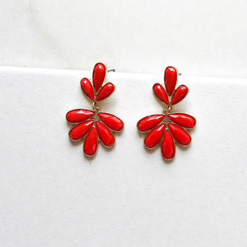 Captivating Cluster Earrings in Red