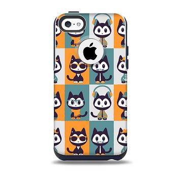 The Retro Cats with Accessories Skin for the iPhone 5c OtterBox Commuter Case