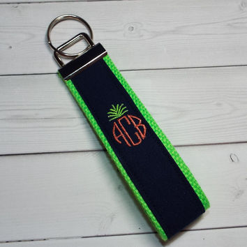 personalized Key FOB / KeyChain / Wristlet  - name monogram - pineapple 3 letter circle - custom