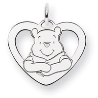Sterling Silver Disney Winnie the Pooh Heart Charm - 24mm - JewelryWeb