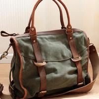 Retro canvas shoulder bag Mobile Messenger bag canvas bag with leather