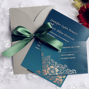 Emerald green wedding invitation set - pocket invitation card - RSVP card, reception card, thank you card, envelop EWPI104