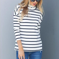 Stripe  High Neck Cut Out Back Sweater B0013737