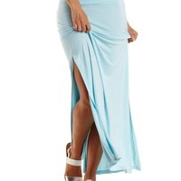 Blue Glow Double Slit Maxi Skirt by Charlotte Russe