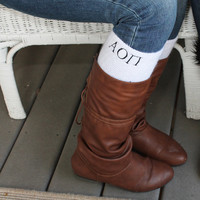 Greek Sorority Monogram Boot Socks Personalized Knee High