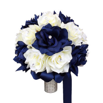 "10"" Bouquet-Navy Ivory"