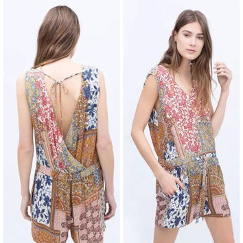 Summer Women's Fashion Print Backless Sexy Jumpsuit [6513588039]