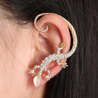 Rhinestone Lizard Ear Cuff Stud Earrings