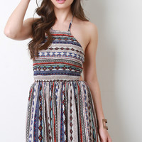 Tribal Print Strappy Back Smocked Babydoll Dress