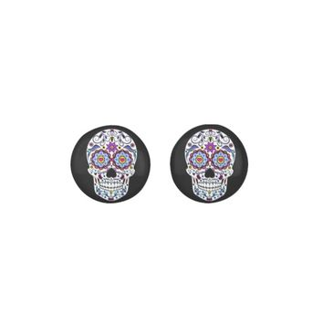 Folk Art Colorful Sugar Skull Earrings