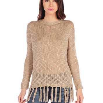 RD Style Solid Fringe Sweater