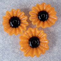 Sunny Sunflowers- Lampwork Flower Beads