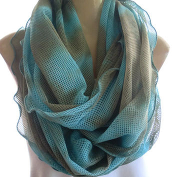 Shadow of Atlantis, Gorgeous tie-dyed Mermaid net infinity scarf in sky blue and eathy brown /Full version -Super soft-