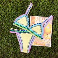 100%cotton  Sexy crochet colorfull  elastic bikini  NEOPRENE-BIKINI-Swimsuit-Swimwear beachwear