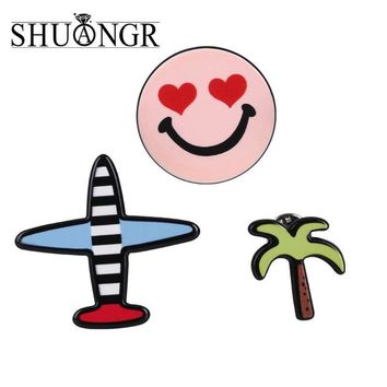 Trendy SHUANGR 3 pcs/set Creative Cartoon Star Figure Plant Smile Airplane Brooch Button Pins Denim Jacket Pin Badge Jewelry Gift AT_94_13
