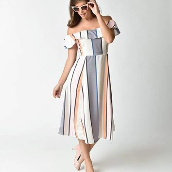 Retro Style White & Multicolor Stripe Off Shoulder Midi Dress