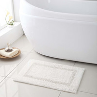 "High Quality- 100% Cotton - Reversible Bath Mat/ Rug - 17""x24"" - B1- White"