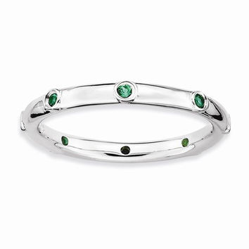 Sterling Silver Stackable Expressions Emerald Ring
