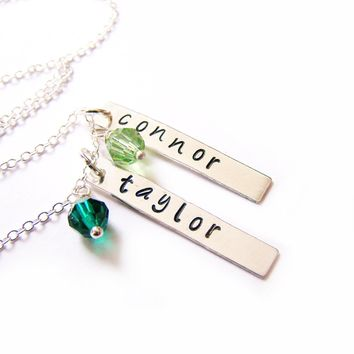 Personalized Two Names Hand Stamped Bar Swarovski Birthstone Necklace