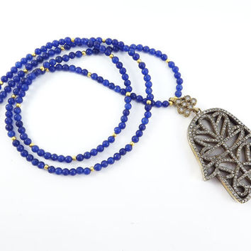 Hamsa Hand of Fatima Rhinestone Necklace Royal Blue Jade Stone Gemstone Statement Gypsy Hippie Bohemian Artisan - One Of A Kind