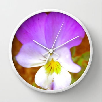 Wall Clock - Purple Pansy, Flower, Violet, Yellow, garden, nature, time, home decor, petals, shabby chic, hour, minute, hands, pretty, love