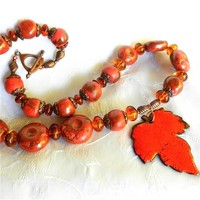 Handmade Enameled Scarlet and Copper Leaf Pendant, Signed Necklace