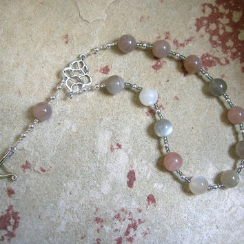 Artemis Pocket Prayer Beads in Moonstone: Greek Goddess of the Wilderness, Wild Animals, Huntress, Protector of Young Women and Girls