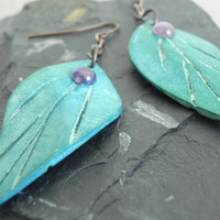Turquoise Leaf Earrings - Carved Wood with Amethyst - Hobbit Earrings