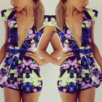Flower Print Deep V-neck Short Sleeves Empire Short Jumpsuit