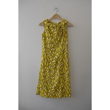 Vintage L'Aigon Yellow/Tan High Neck Dress