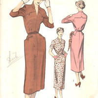 Advance 1940s Sewing Pattern 5465 Slim Fit Dress Straight Skirt Western Style Yoke Hip Pocket Detail High Fashion Bust 36