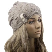 PEAPUNT Modern Lace Button Leaves Hollow Out Knitting Hat Fashion Accessories winter hats for women clothes,4 colors,hot H19