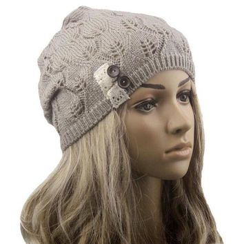 CREYL Modern Lace Button Leaves Hollow Out Knitting Hat Fashion Accessories winter hats for women clothes,4 colors,hot H19