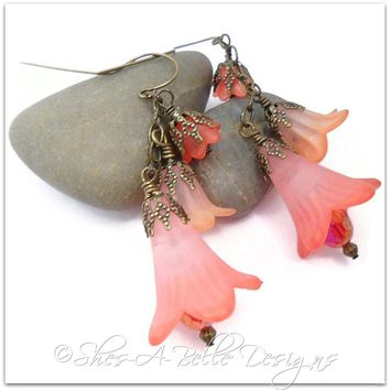 Wild Poppy Fairy Flower Earrings in Antique Bronze, Vintage Style Earrings - Handmade Crafts by Shes-A-Belle Designs