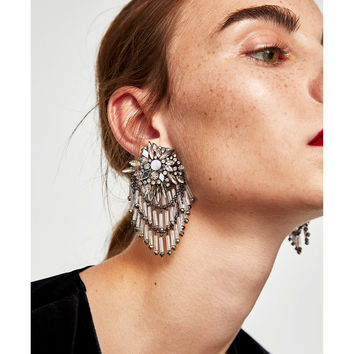 COMBINED MIRROR AND STONE EARRINGS DETAILS