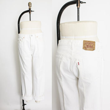 "Vintage Levi's 501 JEANS - White Denim Loose Fit Straight Leg Jeans 32"" x 29"""