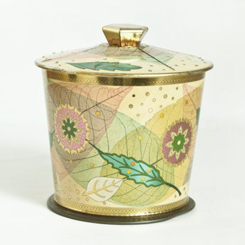 Vintage Baret Ware Autumn Leaves Tin Box, Pink Green Metal Storage Container Biscuit Jar, Art Grace made in England