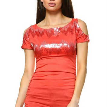 Women's Sequin Cut Out Shoulder Top