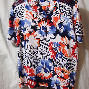 Alfred Dunner, Pullover Top, Floral Print, Orange Blue White, Size XL Extra Large, Resort Cruise Wear, Casual