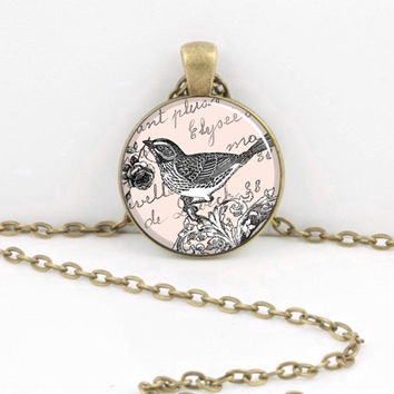 Bird Toile Print Pink  Shabby Chic Vintage Art Pendant Necklace Inspiration Jewelry or Key Ring