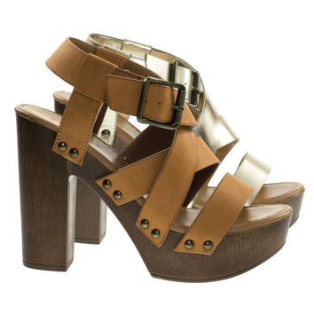 Juliana11s Tan By Bamboo, Faux Wooden Platform Chunky Block Heel Sandal Metal Bolt Strap
