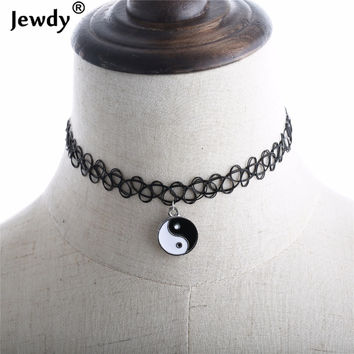 Ocean Supernatural Yin Yang Stretch Tattoo Choker Necklace for Women Gothic Vintage Punk Henna Elastic Pendant Necklaces Jewelry
