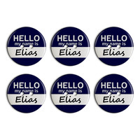 Elias Hello My Name Is Plastic Resin Button Set of 6
