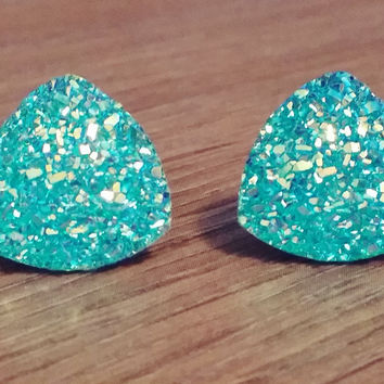 Druzy earrings-  Triangle iridescent aqua druzy earrings