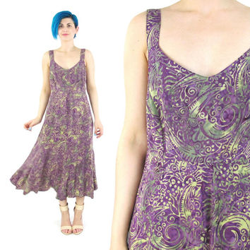 90s Hippie Boho Batik Dress Purple Abstract Print Festival Maxi Dress Sleeveless Summer Sun Dress Fitted Waist Flared Skirt Dress (M/L)