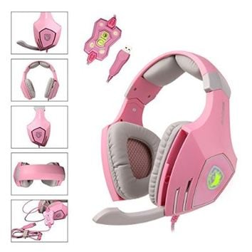 SADES A60 7.1 USB Pro PC Gaming Headset Surround Sound Stereo Over-the-Ear Headband Headphones with High Sensitivity Mic Bass Vibration Noise-Canceling Volume Control Wolf Logo Flashing LED Lightings (Pink)