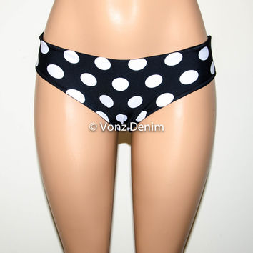 Black & White Stripes with Polka Dots Bikini Bottom, Full Coverage Bikini Bottoms, Fully Lined Spandex Swim Suit Bottom