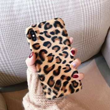 Leopard print Plush fur phone cases for iphone XS Max X XR XS soft tpu case for iphone 6 6s 7 8 plus phone back cover