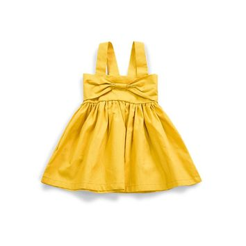 Summer fashion brand Gold Bow New Born Baby Dress 0-24M baby girls Clothes cotton cute girls dresses